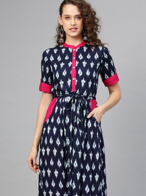 Navy Blue Print Designer Kurti