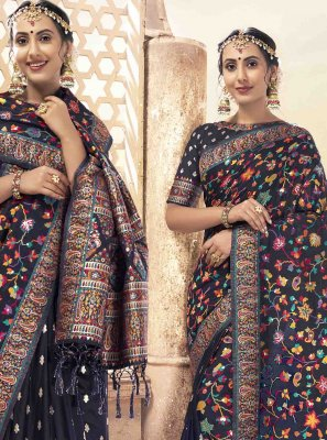 Navy Blue Print Saree