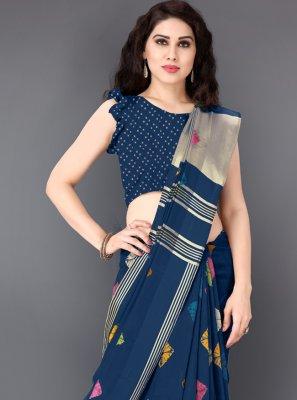Navy Blue Printed Casual Saree