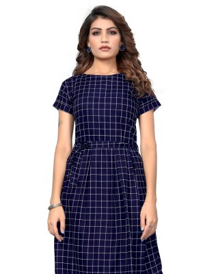 Navy Blue Printed Faux Crepe Party Wear Kurti