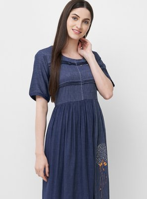 Navy Blue Rayon Mehndi Party Wear Kurti