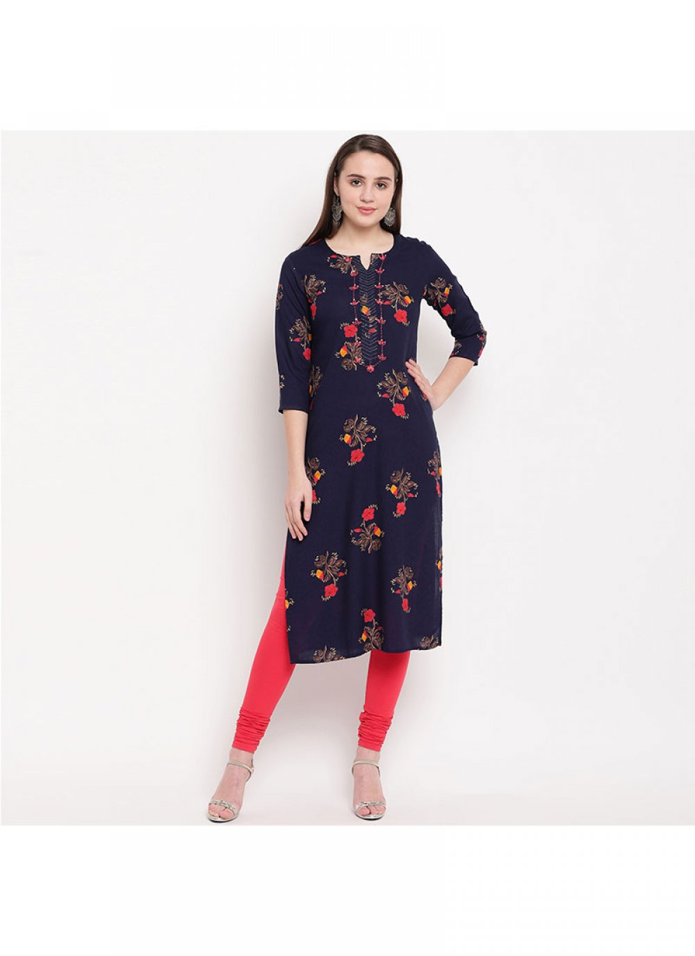 Navy Blue Rayon Party Party Wear Kurti