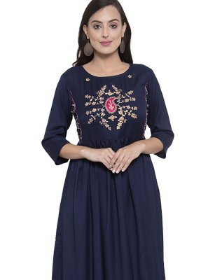 Navy Blue Rayon Party Wear Kurti