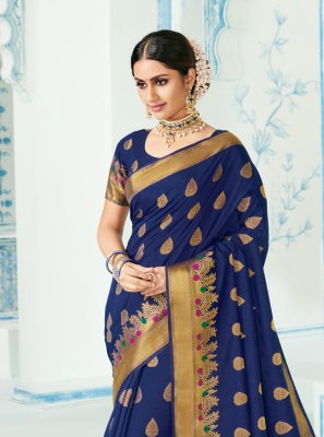 Navy Blue Reception Casual Saree