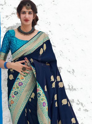 Navy Blue Reception Classic Designer Saree