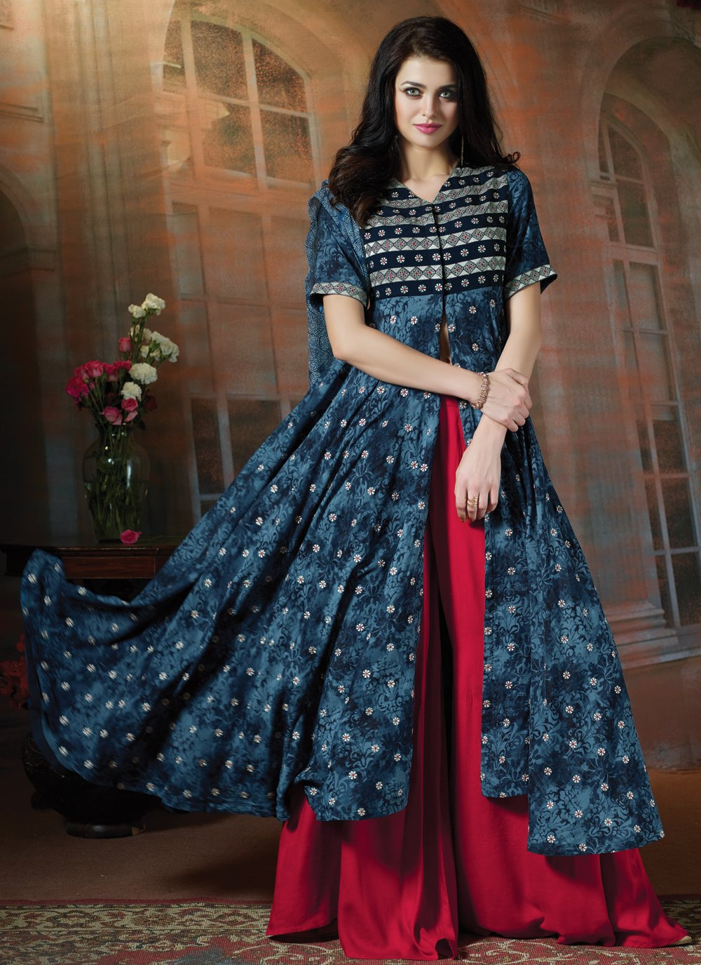 Navy Blue Resham Cotton Trendy Palazzo Salwar Suit