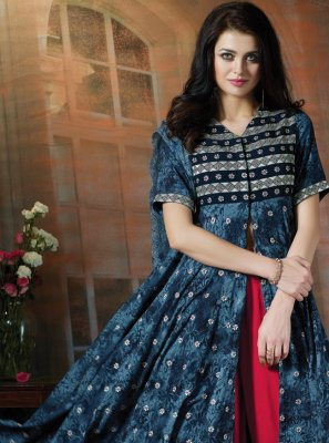 Navy Blue Resham Cotton Trendy Palazzo Salwar Suit