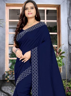 Navy Blue Silk Contemporary Style Saree