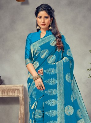 Navy Blue Silk Festival Trendy Saree