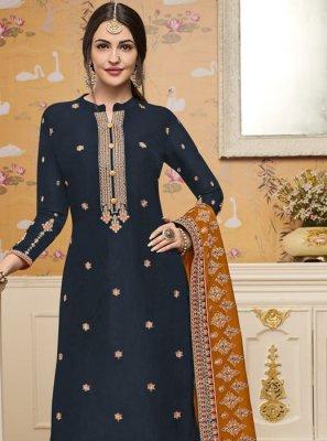 Navy Blue Silk Salwar Kameez