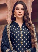 Navy Blue Silk Trendy Palazzo Salwar Suit
