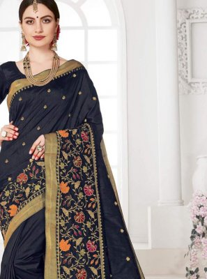 Navy Blue Silk Weaving Designer Saree