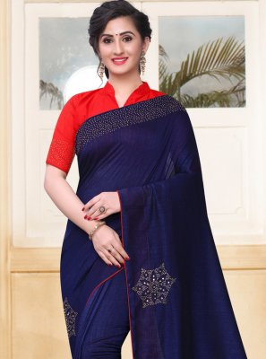 Navy Blue Stone Silk Classic Saree