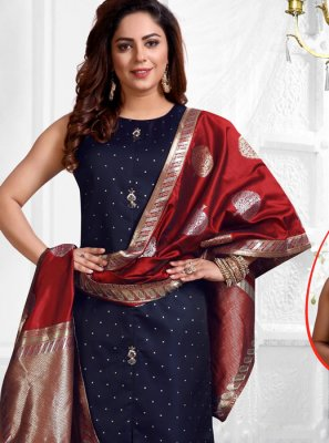 Navy Blue Stone Work Jacquard Silk Salwar Suit