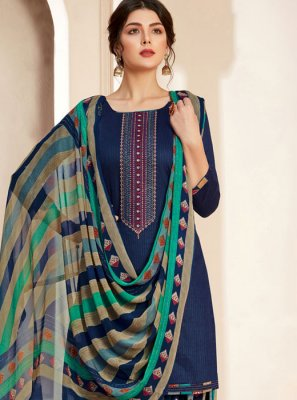 Navy Blue Thread Reception Salwar Suit