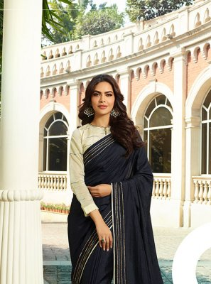 Navy Blue Thread Work Party Classic Designer Saree