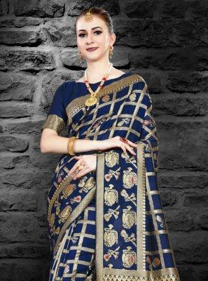 Navy Blue Weaving Art Silk Classic Saree
