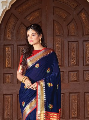 Navy Blue Weaving Classic Designer Saree