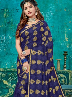 Navy Blue Weaving Crepe Silk Designer Traditional Saree