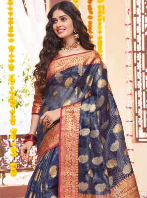 Navy Blue Weaving Festival Classic Saree