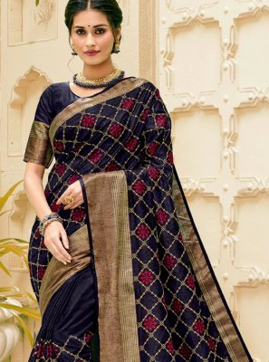 Navy Blue Weaving Jute Silk Silk Saree