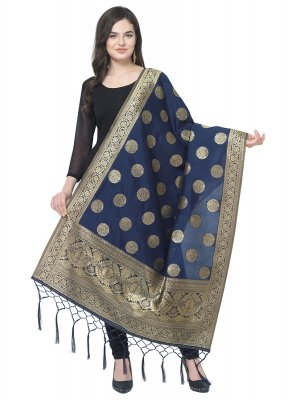 Navy Blue Weaving Party Designer Dupatta