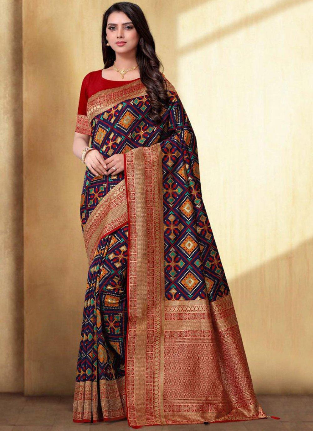 Navy Blue Weaving Silk Trendy Saree