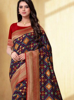 Navy Blue Weaving Silk Trendy Saree