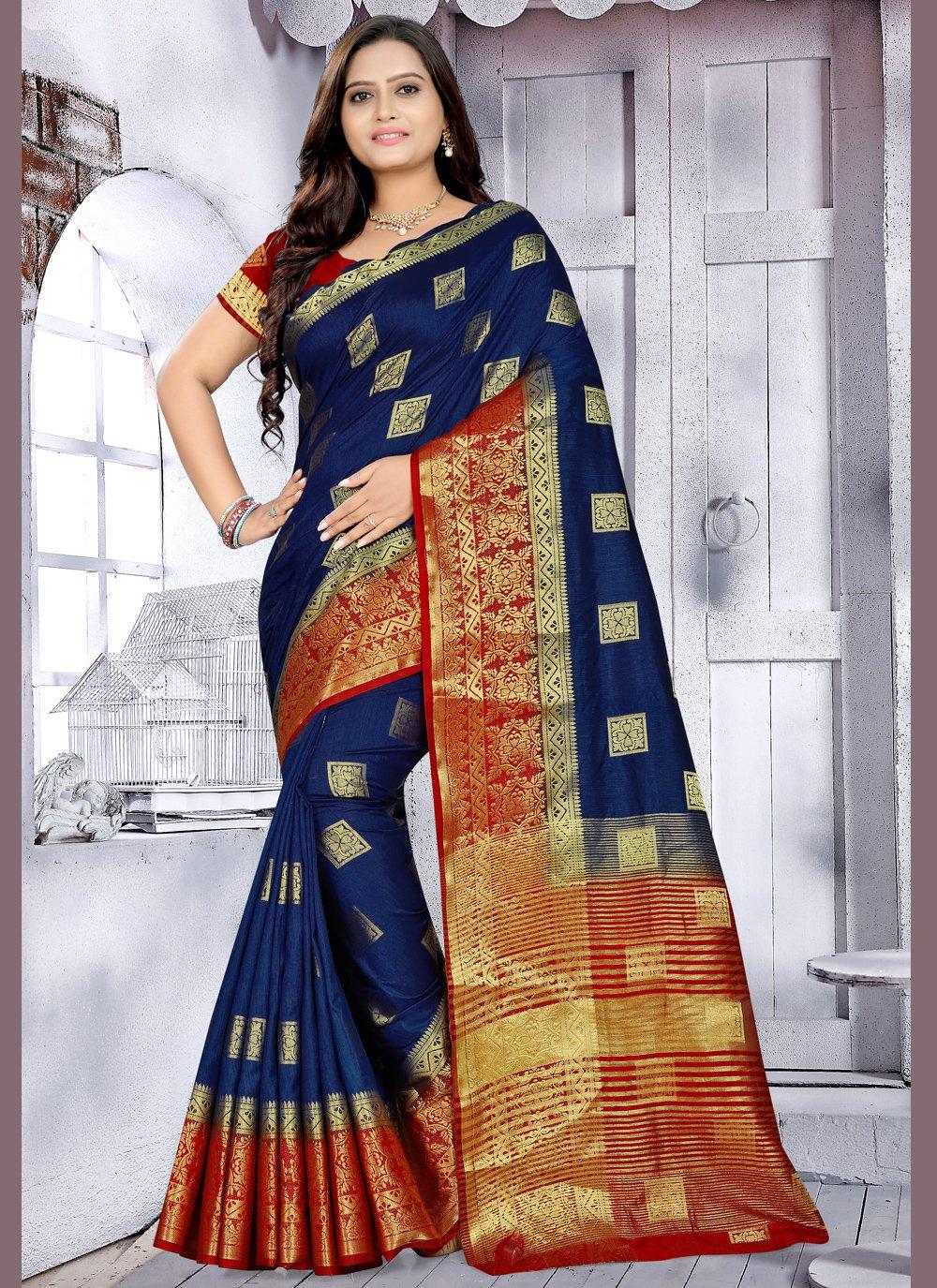 Navy Blue Woven Banarasi Silk Designer Saree