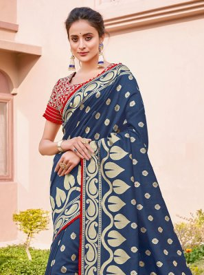 Navy Blue Zari Ceremonial Silk Saree