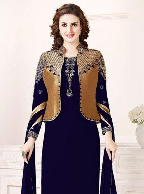 Navy Blue Zari Festival Salwar Suit