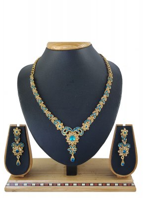 Necklace Set Stone Work in Blue