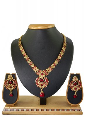 Necklace Set Stone Work in Red