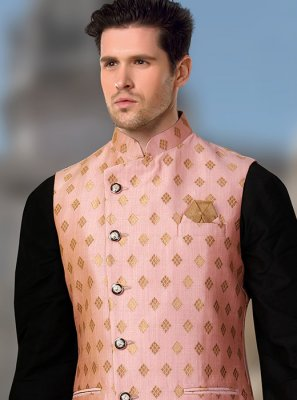 Nehru Jackets Machine Embroidery  Brocade in Pink