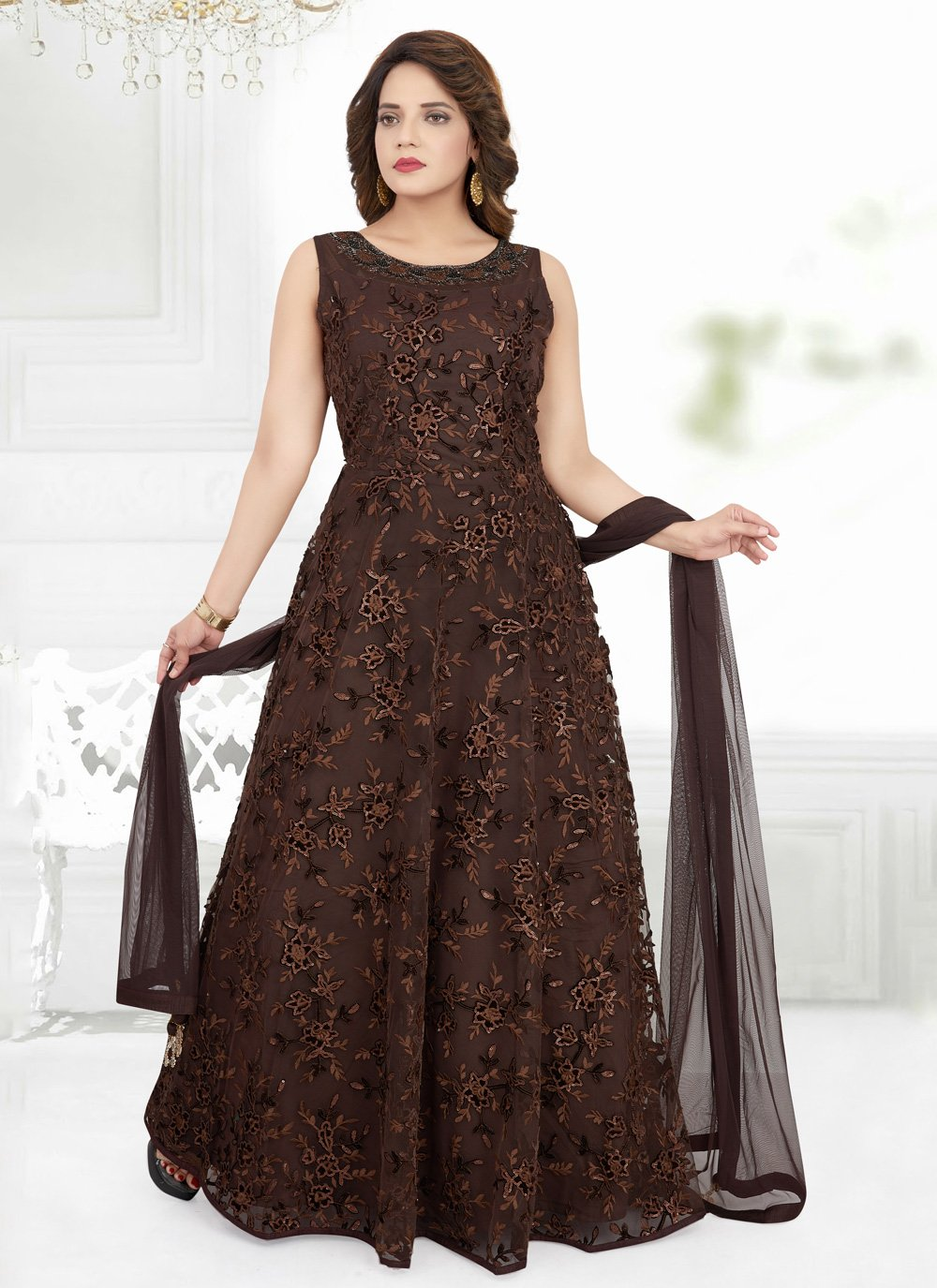 Net Anarkali Suit in Brown