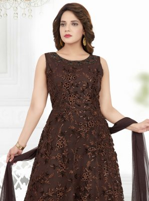 Net Anarkali Suit in Brown