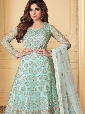 Net Aqua Blue Embroidered Anarkali Salwar Suit