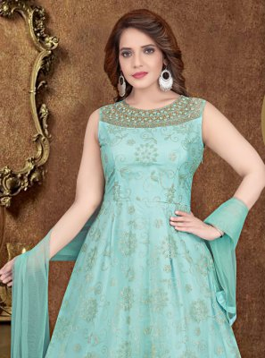 Net Aqua Blue Zari Gown