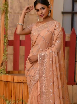 Net Beige Embroidered Designer Saree