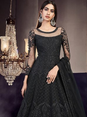 Net Black Embroidered Anarkali Salwar Suit