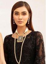 Net Black Embroidered Designer Salwar Kameez