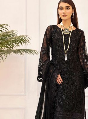 Net Black Embroidered Designer Salwar Kameez