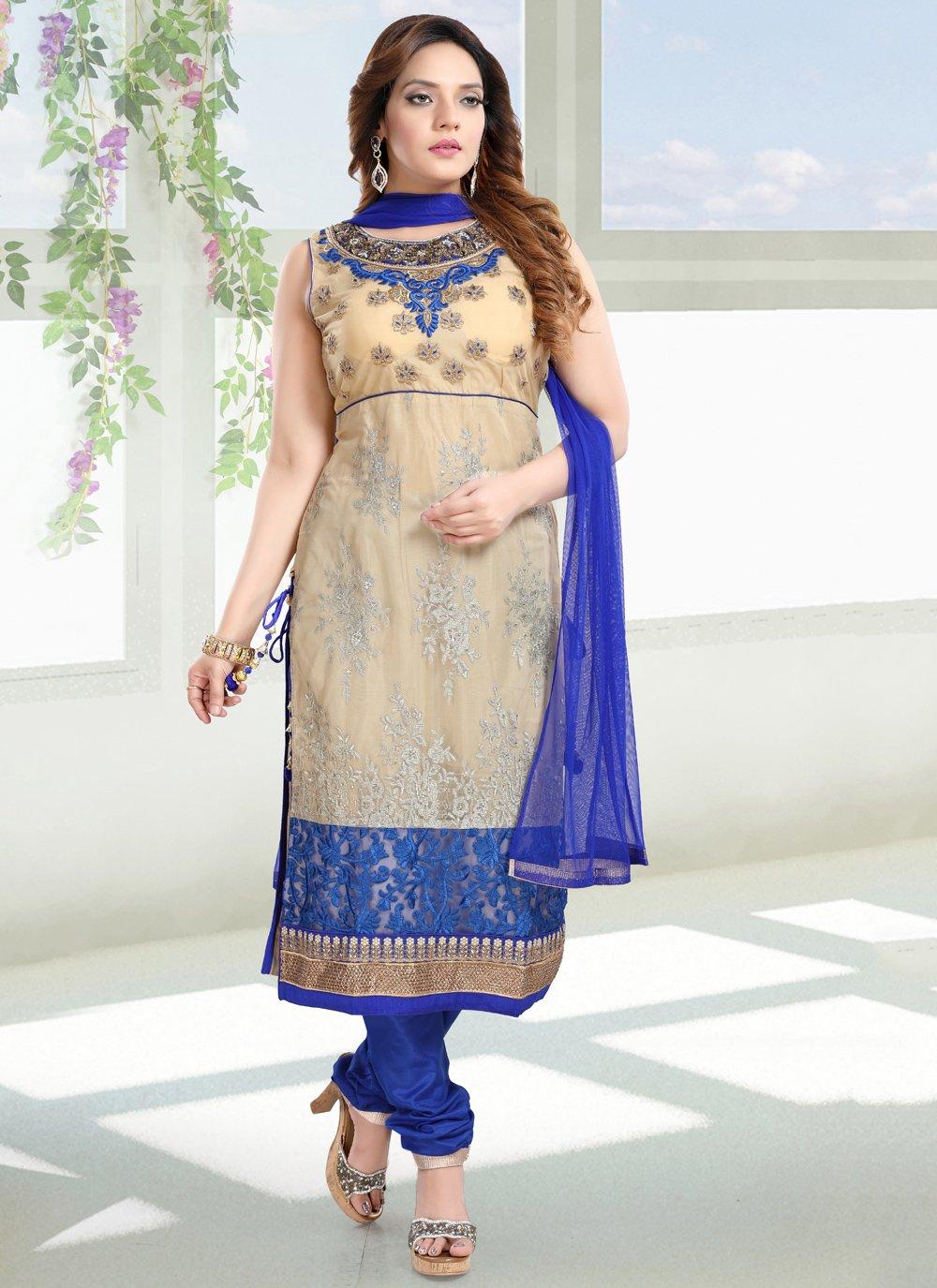 Net Blue and Cream Salwar Suit