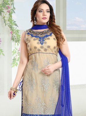 Net Blue and Cream Salwar Suit