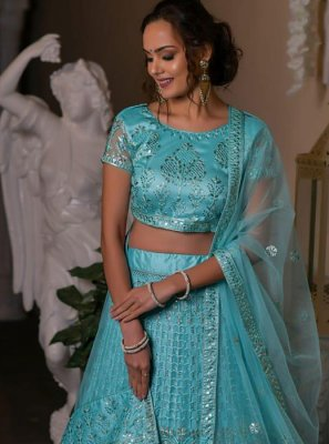Net Blue Embroidered Designer Lehenga Choli