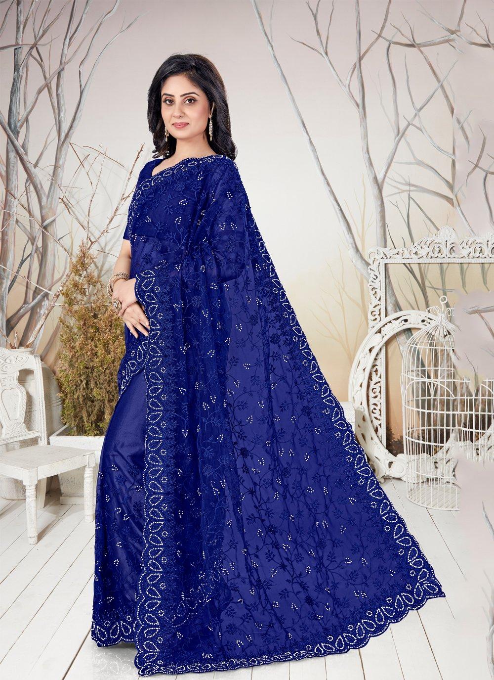 Net Blue Resham Traditional Saree