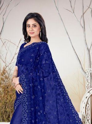 Net Blue Resham Traditional Saree
