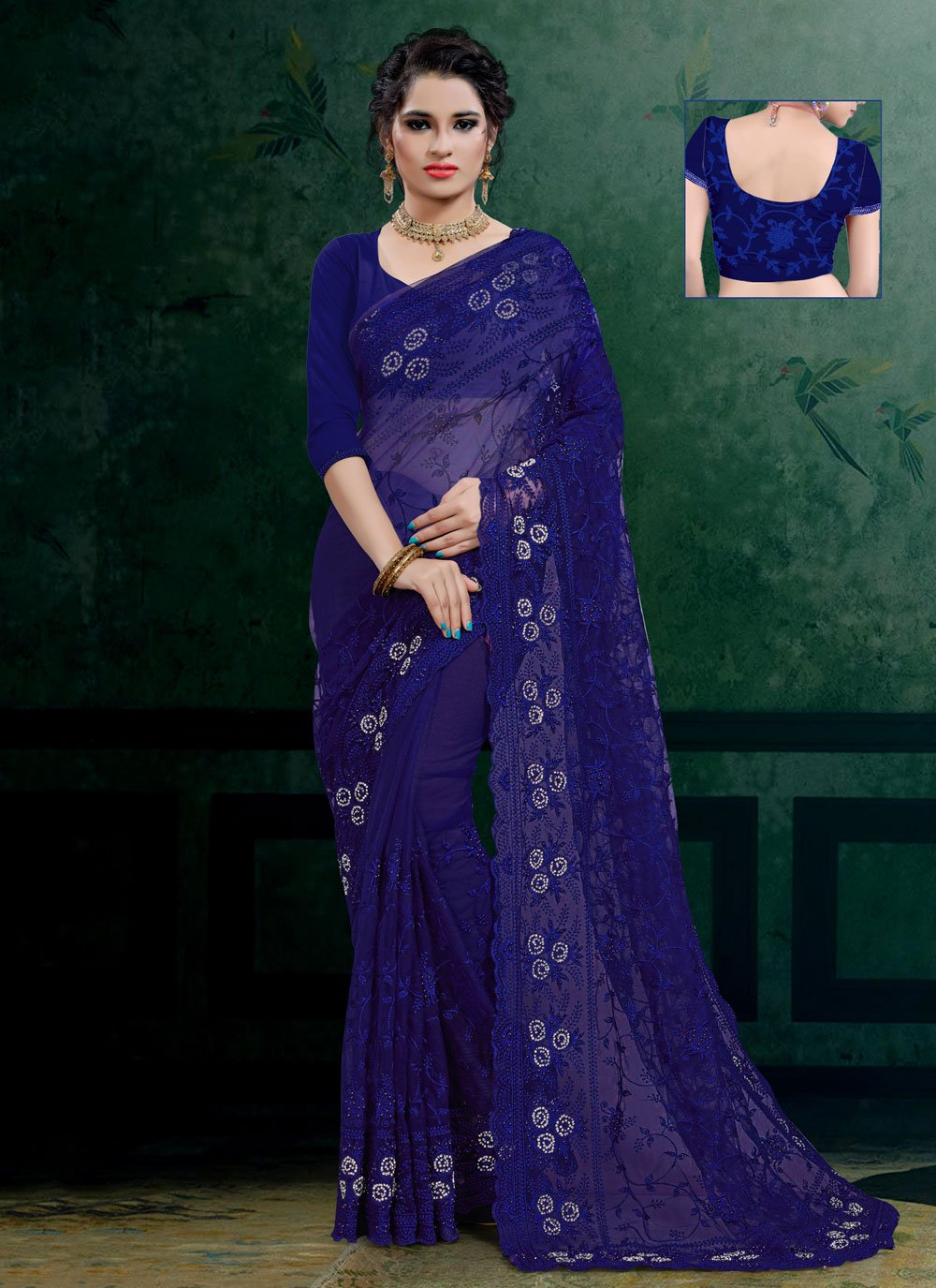 Net Blue Traditional Saree