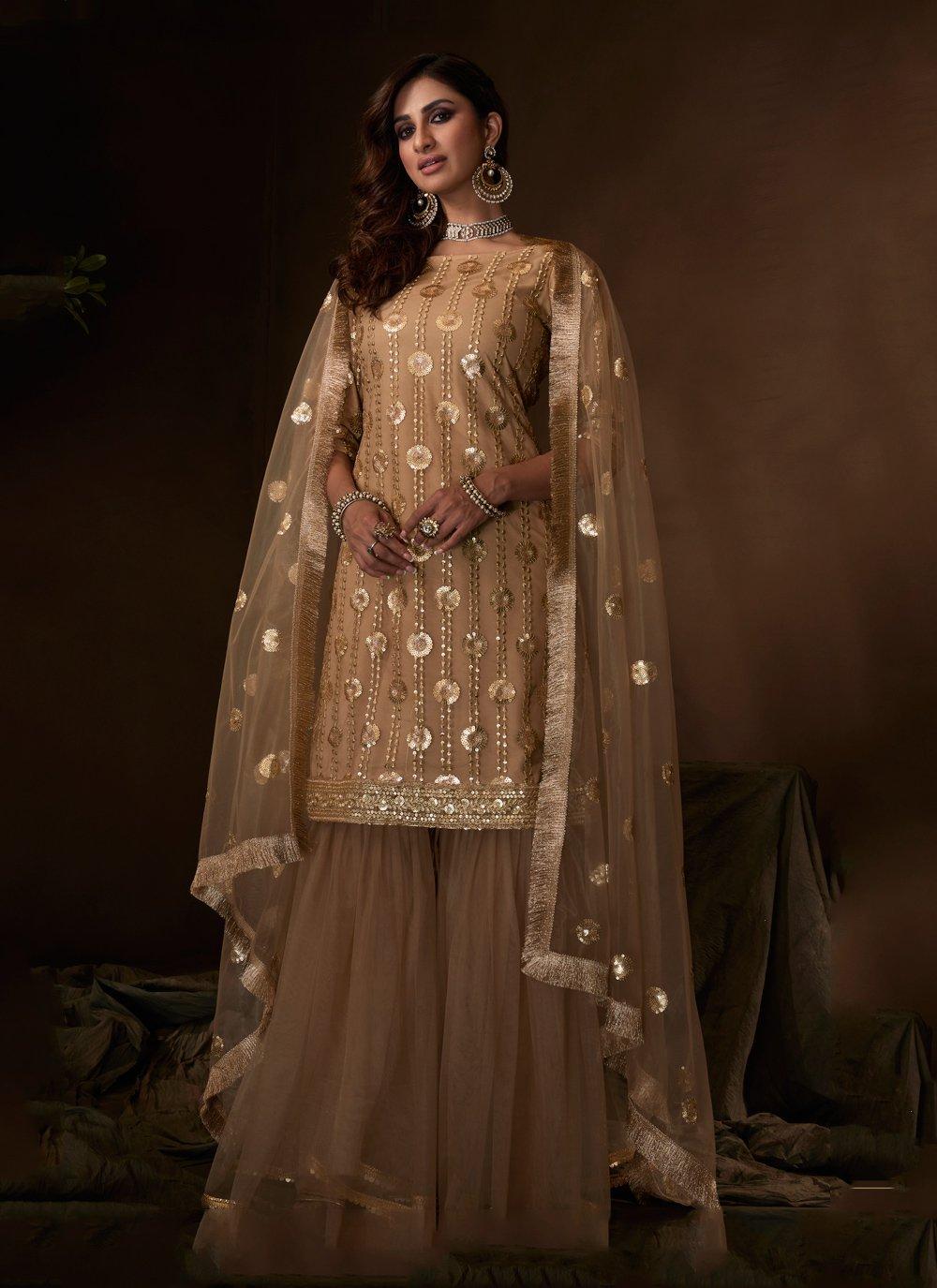 Net Brown Embroidered Designer Salwar Kameez