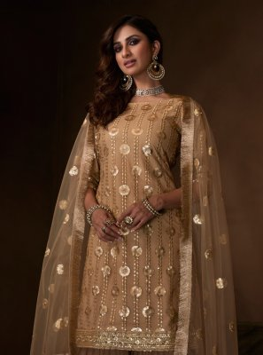 Net Brown Embroidered Designer Salwar Kameez